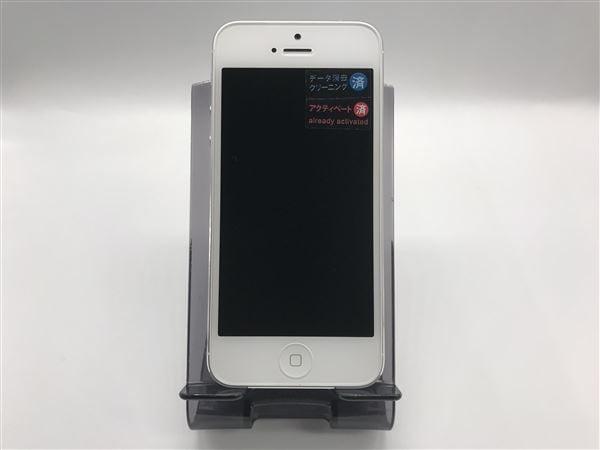 【中古】【安心保証】 au iPhone5[16G] ホワイト&シルバー