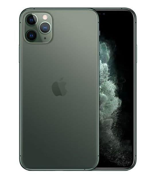 【中古】【安心保証】 iPhone11 Pro Max[64GB] SIMロック解除 au ミッドナイトグリーン