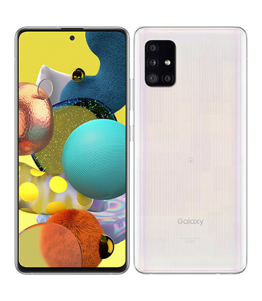 【中古】【安心保証】 au Galaxy A51 5G プリズムブリックスホワイト