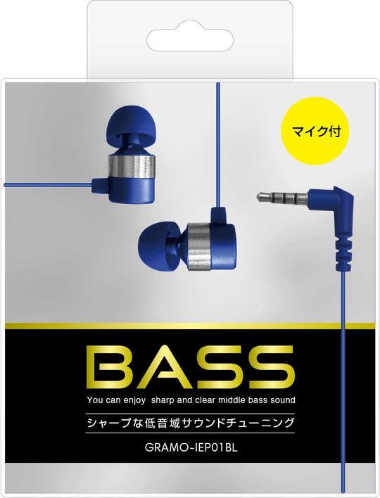 【新品】マイク付きイヤホン GRAMO−IEP01 NB ネイビーブルー/ゲオ