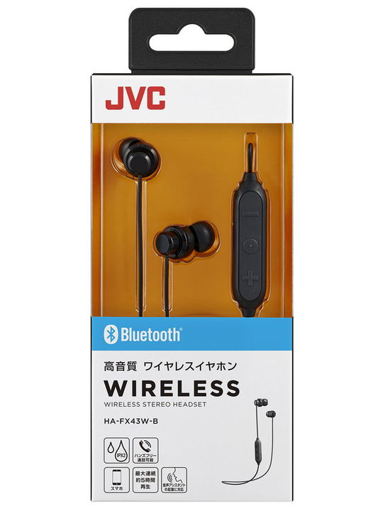 【新品】JVC Bluetoothイヤホン BK HA−FX43W B/JVC