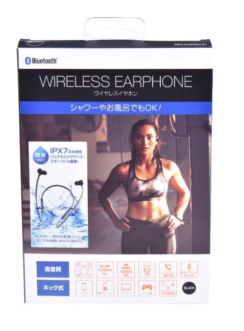【新品】【GR】Bluetoothネック式イヤホン カナル型 IPX7 BK/ゲオ